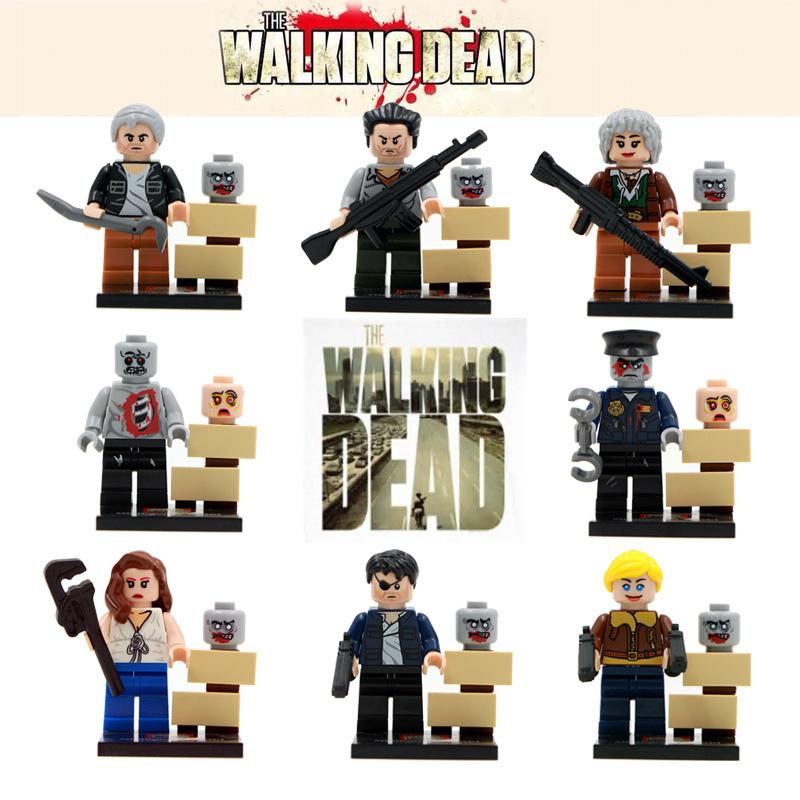 8pcs AMC The Walking Dead Rick Daryl Carol/Merle/Lori/Andrea/Shane with GUN Zombies Assemble Minifigures Building Blocks Toys(China (Mainland))