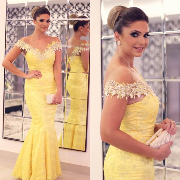Vestidos de festa Sheer Scoop Neckline Short Sleeves Sexy Long Mermaid Yellow Evening Dress 2016 Corset Formal Party Dresses(China (Mainland))