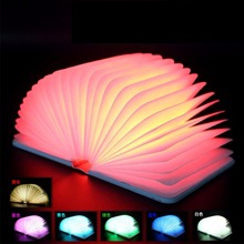 PU Leather Foldable Pages LED Book Lamp Nightlight Booklight USB Rechargeable Multi-Color Light Decoration USB Gadgets(China (Mainland))