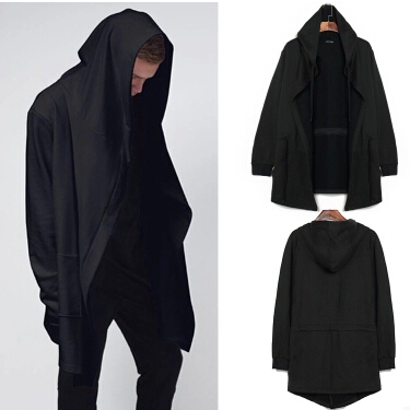 men clothing sudaderas de hombre mens hoodie extended solid sweatshirt Designer brand Cloak cape coat black soul Hooded cardigan(China (Mainland))