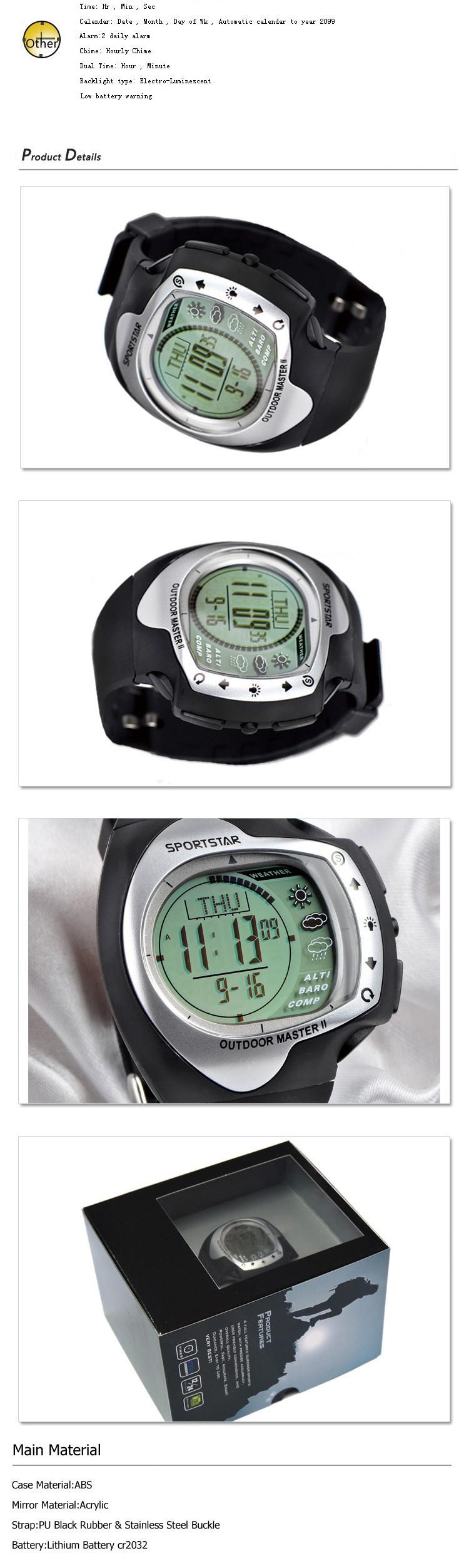 SPORTSTAR Открытый Мастер 2 профессия открытый высотомер, термометр, прогноз погоды смарт спорт наручные часы