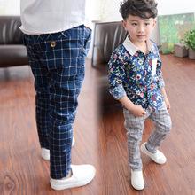 NEW fashion junior boys cotton pants kids plaid boys harem pants roupas infantis menino children trousers boys clothes(China (Mainland))