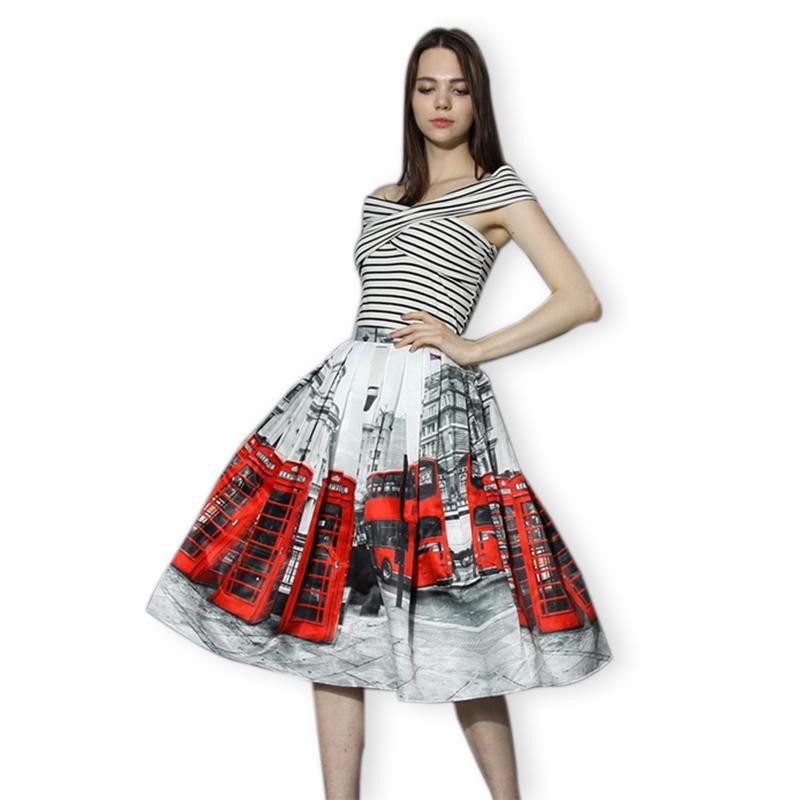 Red London Bus Print High Waist Women Midi Skirt 2015 Summer Vintage Slim Ladies Casual Tutu Skirts Faldas Mujer Saia Feminina(China (Mainland))