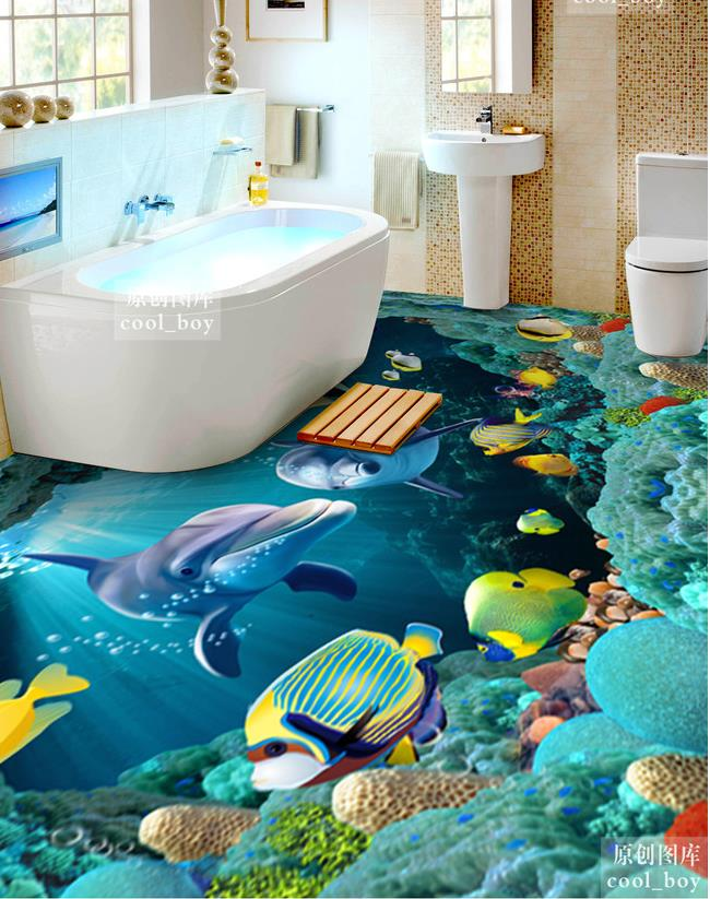 3d floor wallpaper custom 3d floor mural painting the for Bathroom floor mural sky