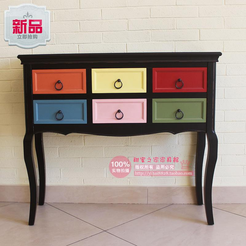 Six Drawers Drawers colorful wood bedroom drawer storage cabinets lockers 6 black smoke Entrance Cabinet Korean cabinet(China (Mainland))