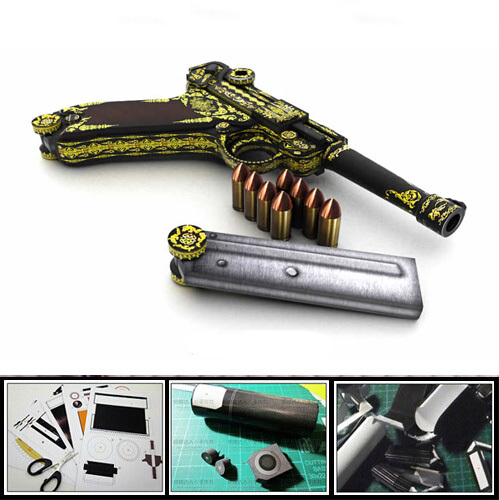 3D Paper model Gun / Pistol WWII Germany Luger P08 Pistol 1:1 military weapon magazine 3d puzzles toy(China (Mainland))