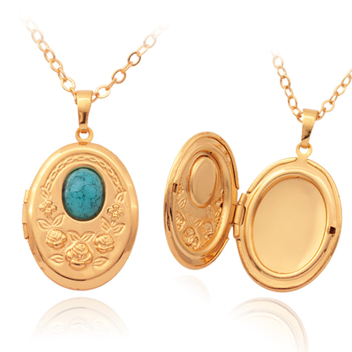 aliexpress buy vintage oval turquoise photo locket