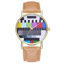 Duobla חדש בציר עור שעונים אופנה חתונה מתנת יום הולדת פרח פסיפס הדפסת דפוס Creative laides שעוני יד 30Q(China)