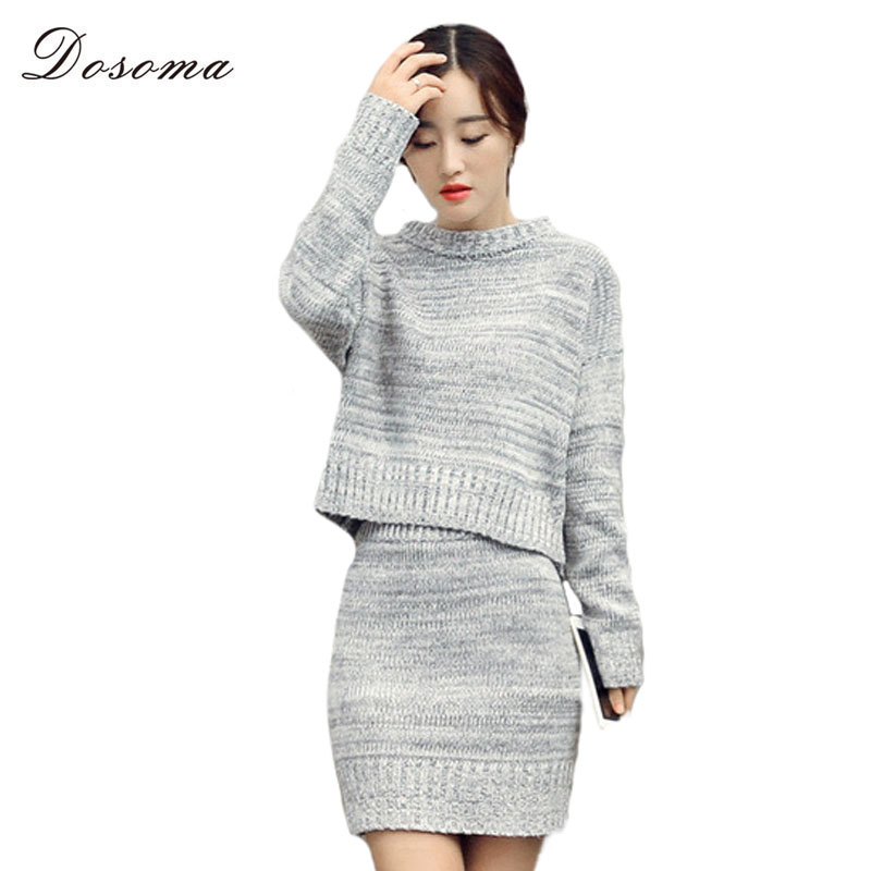 Women Set 2016 Autumn/Winter Elegant Short Sweater and Knitted Mini Skirt Ladies Pullover Two Piece Set Winter Suits for Women(China (Mainland))