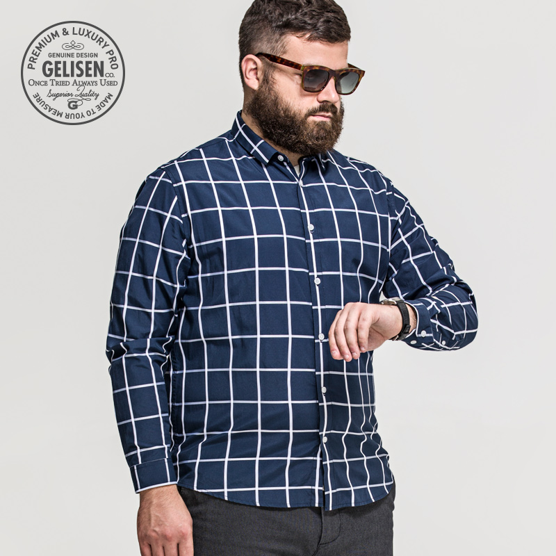 Gelisen brand men 39 s shirts plus size fashion classic plaid for Best dress shirts for big guys