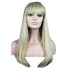 Women's Fashion Wig Hair Wigs With Bangs Silver Long Straight Hair Wig 88(China (Mainland))