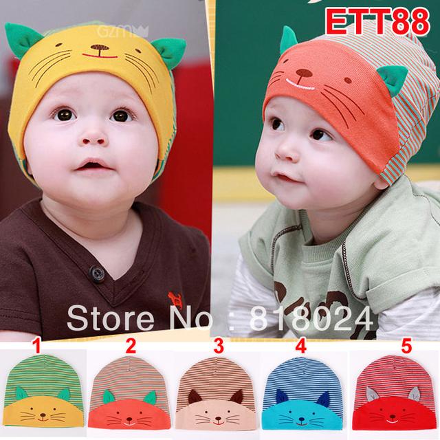 5 шт. / lot осень зима прекрасный Cat младенцы шляпа кепка дети младенческой малыша маски и шапки животное шляпа для 3 - 18 месяцев унисекс