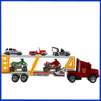 New 2015 Loader Truck Transportation Trailer Toy Double-decker Bus with Motorcycle & Car Kids Birthday Christmas Gift(China (Mainland))