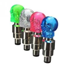 4 Colors Skull MTB Bike Bicycle Motorcycle Wheel Tire Valve Cap LED Flash Lights with Three AG10 Button Batteries(China (Mainland))
