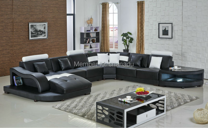 big size leather sofa with side table(China (Mainland))