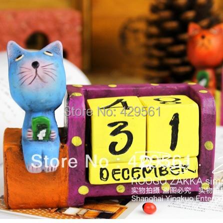 Cartoon 2014 calendar school bus decorations zakka animal wooden calendars(China (Mainland))