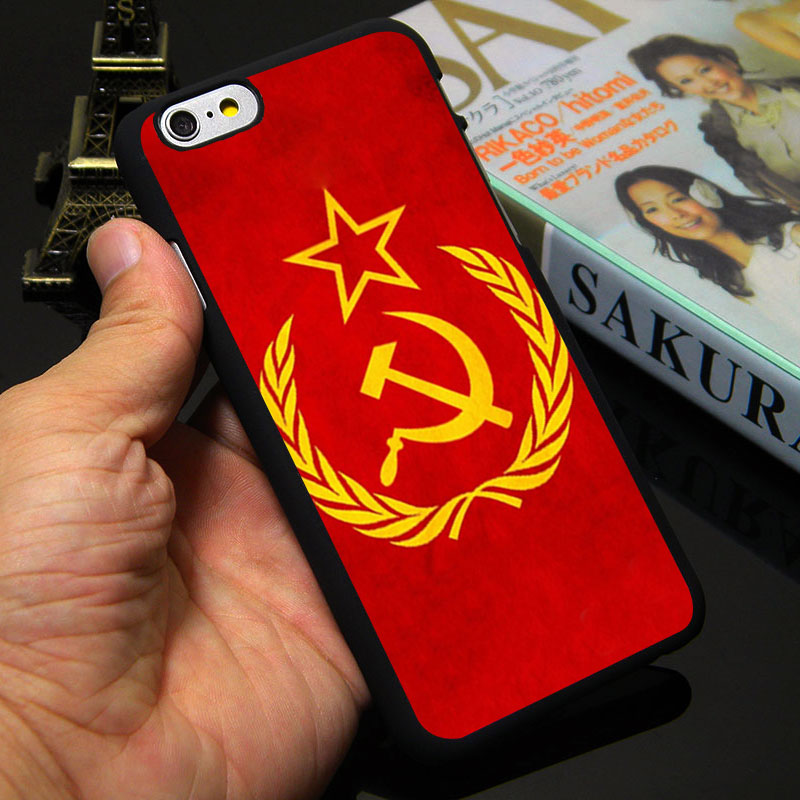 Soviet Union USSR Grunge Flag Black Hard Phone Case for iPhone 5S 5 SE 5C 4 4S 6 6S 7 Plus Cover ( TPU / Plastic for Choice )(China (Mainland))