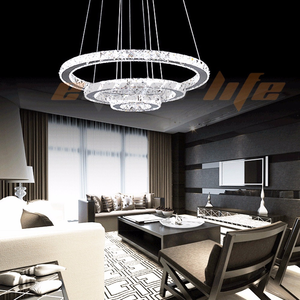 Enyourlife Modern Galaxy Crystal Chandelier Circles Pendant LED Light Ceiling Lamp Lighting Crystal chandeliers<br><br>Aliexpress