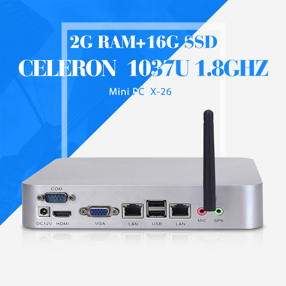 no noise less heat fan embedded computer Celeron C1037U 2g ram 16g ssd+wifi mini itx mother board mini pc with wifi and hdmi(China (Mainland))
