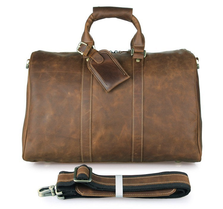 7077B Handmade Crazy Horse Leather Unique Tote Luggage Travel Bags(China (Mainland))