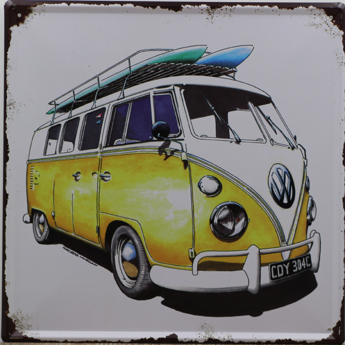 YELLOW BUS GO TO BEACH Vintage Iron Painting 30*30cm Tin Sign Poster Vintage Bar pub home Wall Decor Retro Metal Art Poster(China (Mainland))