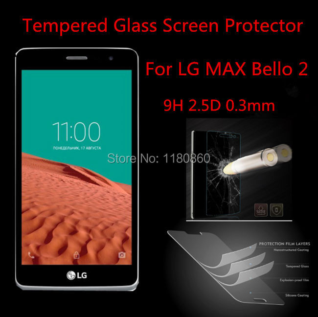0.3mm Premium Tempered Glass Screen Protector Guard Film For LG MAX Bello 2,with retail package(China (Mainland))