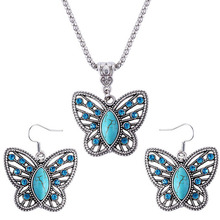 Summer Style Fine and Fashion Oval Turquoise Crystal Butterfly Pendants&Necklace Jewelry For Women(China (Mainland))