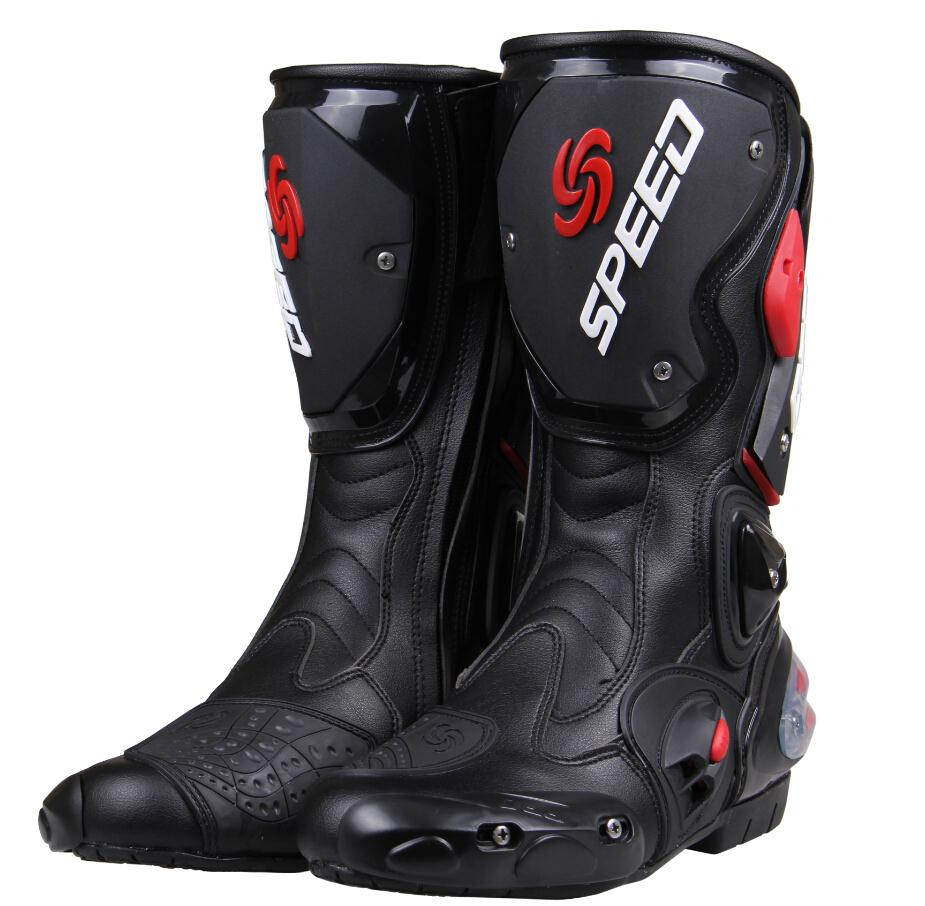 PRO-BIKE professional Racing Motocross Boots men's High cylinder boots fashion leather motorcycle boots BLACK RED WHITE(China (Mainland))