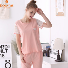Summer Women Pajama Sets Homewear Cotton Girls Pajamas Sleepwear Short Sleeve Long Pant Pijama Cute Sleep & Lounge Casual Pyjama