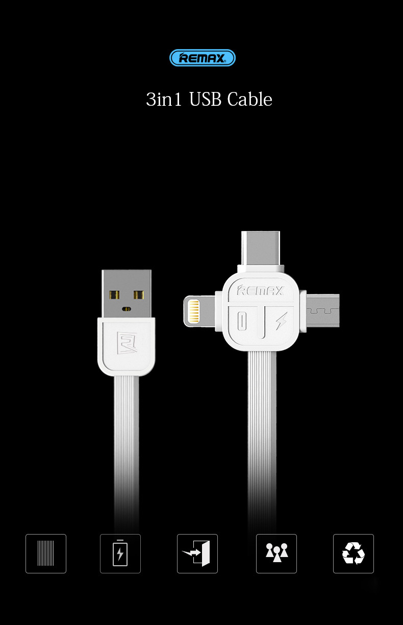 Remax 3in1 Cable for iPhone/iPad + Micro USB V8 + TYPE-C usb-c 100cm Length Charge Cables Data Update Line with Gift Box