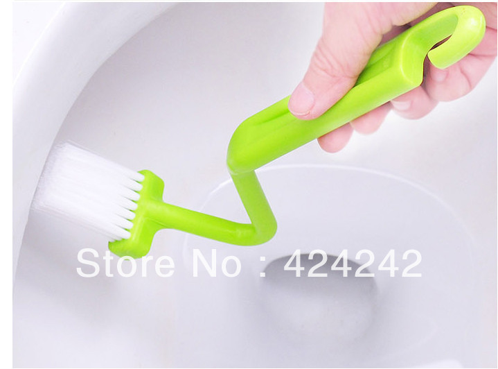 Hot Portable Toilet Brush Scrubber V-type Cleaner Clean Brush Bent Bowl Handle #32743(China (Mainland))