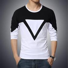 Big Size 4XL 5XL 2015 Summer Style Fashion Brand Mens T Shirt Triangle Print Long Sleeve T Shirt Men Cotton Casual Tee Shirts