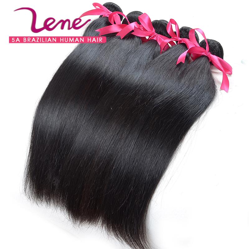 100% Unprocessed Lene product 5pcs lot 5A Brazilian virgin Straight hair human Hair Extension human hair weave straight(China (Mainland))