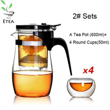 BEST SELLING!!! High-quality teaset Integrative and Convenient Office Teapot Tea Set 2# Set (600ml Teapot + 4 round cups)ETP001