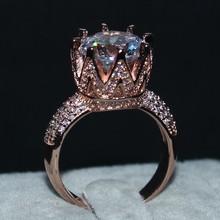 Choucong Ювелирных Изделий 925 Стерлингового Серебра и Розового золота заполнено AAAAA Циркон Корона кольца Коктейль Кольцо Обручальное Кольцо для Женщин(China (Mainland))