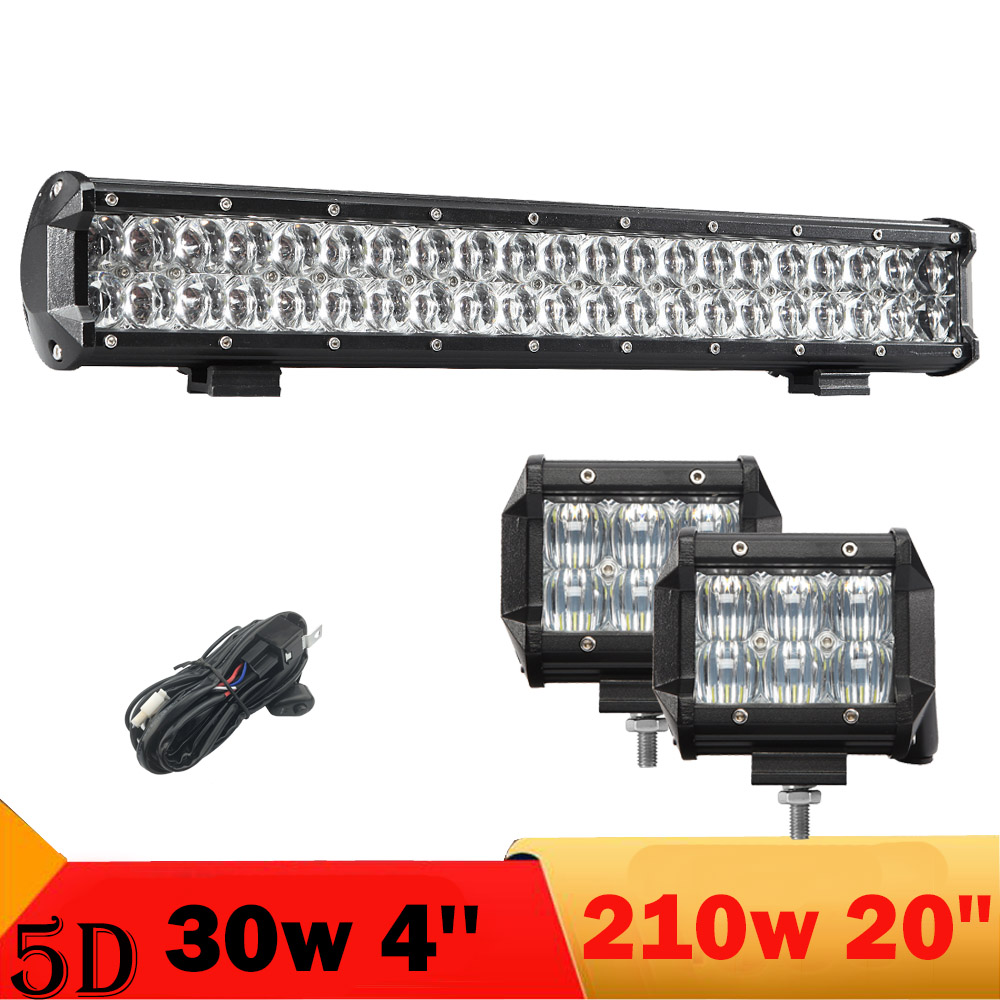 "5D 30w 210w LED Light Bar 4"" 20'' Offroad Led Driving Headlight Fog Lamp For Jeep Compass Honda Pilotr 4x4 4WD Truck boat Pickup(China (Mainland))"