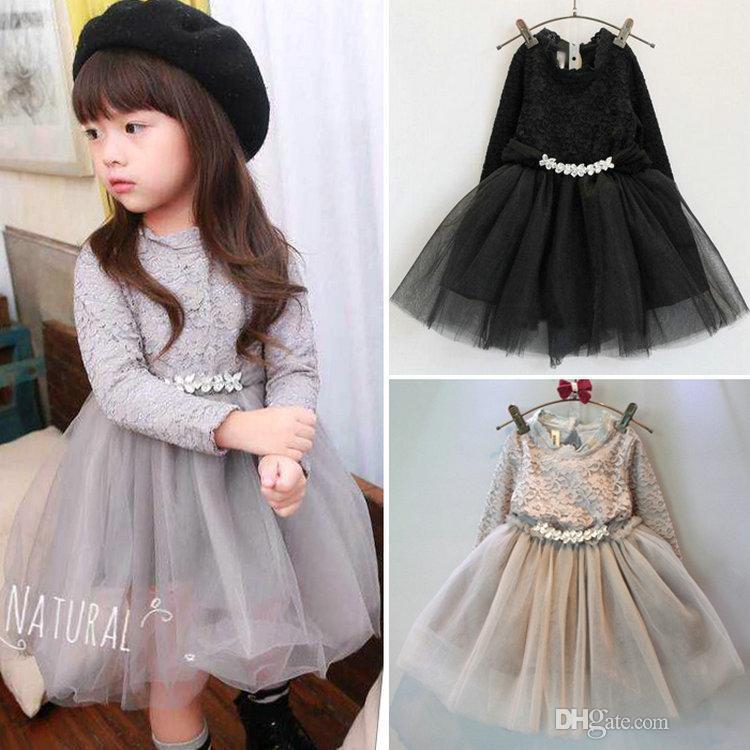 2016 Autumn Kids girls crochet lace dress Baby girl Long sleeve tulle diamond dress babies korean style princess tutu dress(China (Mainland))