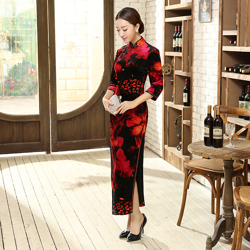 Hot Sale Ladies Dress Black And Red Velour Qipao Long Cheongsam Top Prom Gown Dress Flowers Size S M L XL XXL XXXLОдежда и ак�е��уары<br><br><br>Aliexpress