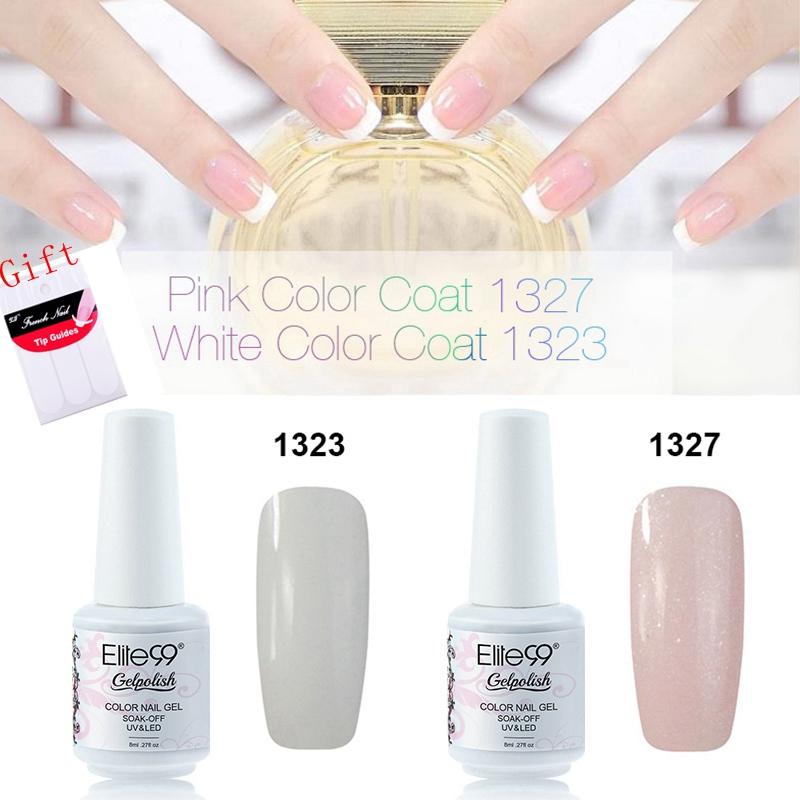 Elite99 8ml New Design Soak Off Color Nail Gel Polish White + Pink French Manicure Kit Set Free DIY Tips Nail Art Decorations(China (Mainland))