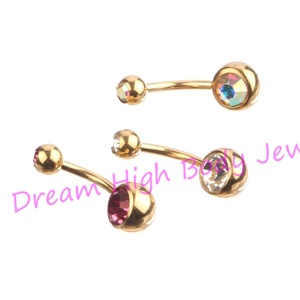 Buy gold belly rings bar anodized double for Belly button jewelry store