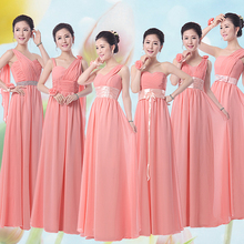 Jade Pink Bridesmaids Dress Party Dress Long Chiffon Long Elegant Prom Dresses Sparkly Bridesmaid Dresses Under $50 Cheap(China (Mainland))