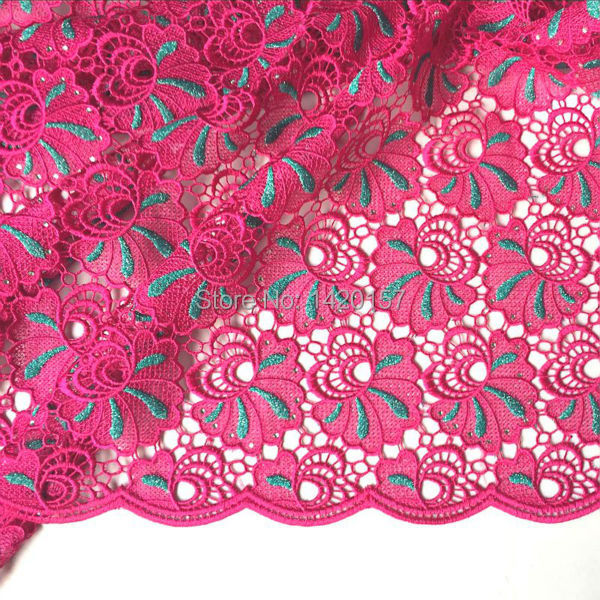 """2016 Elegant African Embroidery Cord Lace For Nigerian Wedding, 51-52"""" Fushia Pink African Lace Fabric Free Shipping!(China (Mainland))"""