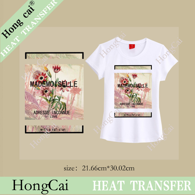 Wholesale Iron On Pu Flex Heat Transfer-film heat transfer flower patch printing Sticker for clothing(China (Mainland))