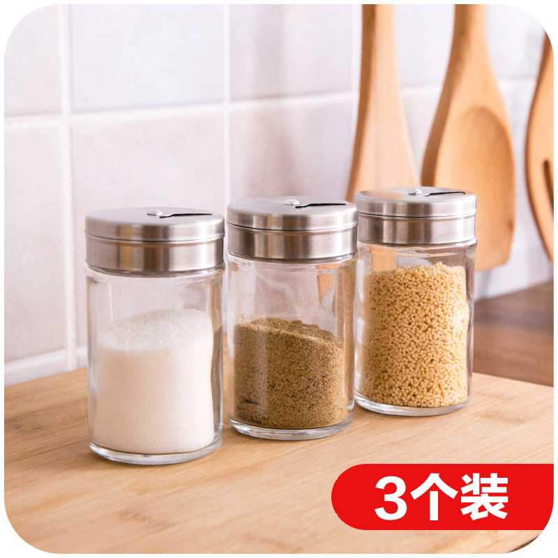 Japanese minimalist kitchen glass cruet three mounted rotatably barbecue sauce bottle pepper shakers(China (Mainland))