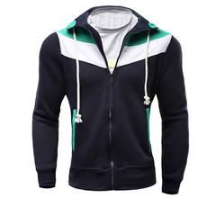 2016 Hoodies Men Sudaderas Hombre Hip Hop Mens Brand Fashion Spell Color Zipper Hoodie Sweatshirt Sport Suit Slim Fit Men Hoody