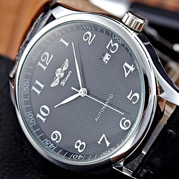 Free Shipping Newest Style Arabic Numerals Dial Premier Elegent Winner Brand Men Mechanical Hand Wind watches with Date Calendar(China (Mainland))