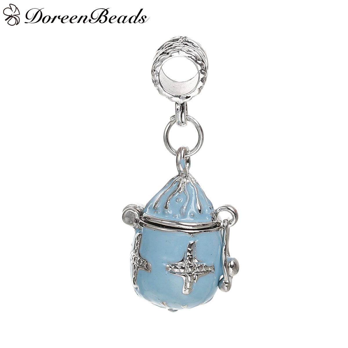 "DoreenBeads European Large Hole Charm Beads Prayer Box Silver Tone Cross Blue Enamel Can Open 34mm(1 3/8"")x 15mm,1 PC 2016 new(China (Mainland))"