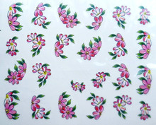 2015 New Water Transfer Nail Art Stickers Decal Beauty Pink Red Flowers Green Leaf Design French