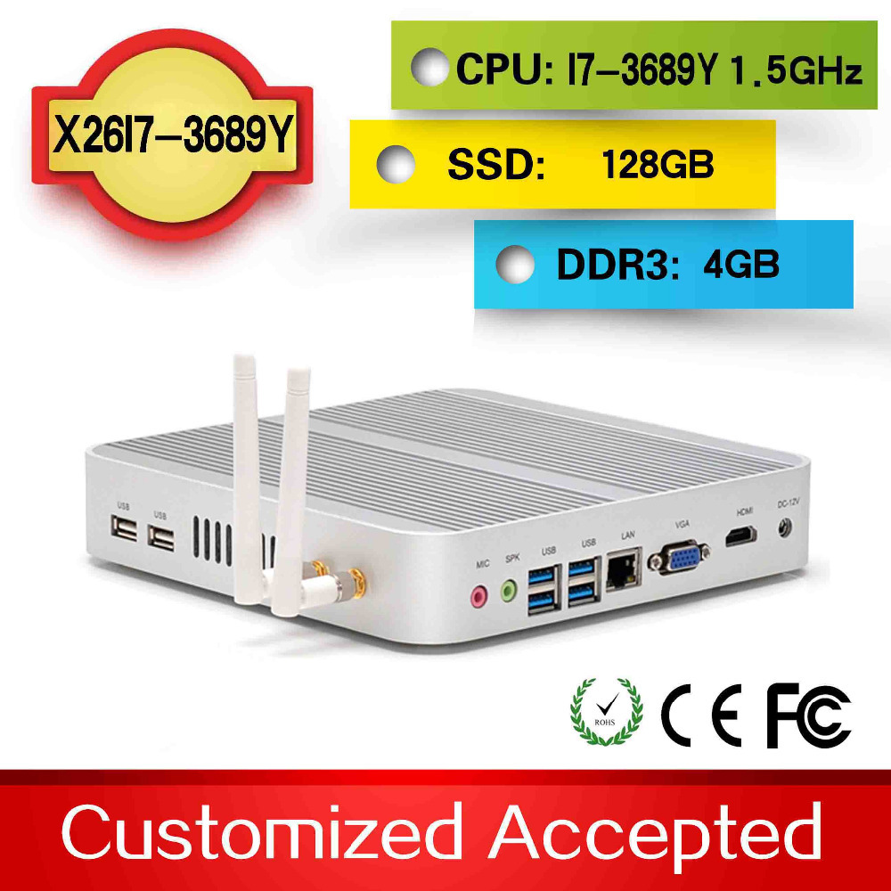 High performance X26-I7L 3689y 4G DDR3 128G SSD small pc mini computers car pc xp support Audio, video videoconference(China (Mainland))
