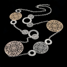 Vintage Long Statement Necklace Real Gold Silver Plated Round Flower Women Necklaces & Pendants Fashion Jewelry SNE150001